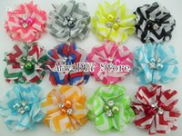 chevron fabric - xayakids Fabric Flowers Chiffon Beaded Flower Folded Ballerina Tutu Flower for Baby Headbands Chevron hair accessoris