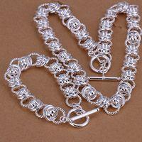 al por mayor 925 encanto de coral-112g la joyería de plata 925 pesada fijó GS-19, la plata unisex 925 de la alta calidad plateó el sistema de la pulsera del encanto del collar, venta al por mayor, venta al por menor, orden de la mezcla