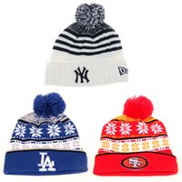 mlb caps - Mixed batch Brand New Fashion NY SF LA Embroidery Wool Knitted Pom Pom Hats For Men Women Winter MLB Baseball Sports Beanies Warm Caps