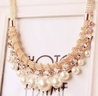 beaded wholsale - Fashion Necklace for women Hot Wholsale Popular exaggerated hand paragraph Beaded imitation pearl necklace