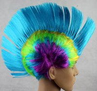 Wholesale New personality men women Halloween party wigs rock festival cosplay comb hair