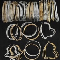 Wholesale 2015 HOT Brand New Design Punk Style Statement Fashion Jewelry K Gold Plated Bohemian Big Hoop Earrings For Women pairs