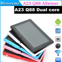 Wholesale 2015 New inch A23 Q88 Allwinner A23 Dual core Tablet PC Android Capacitive Screen MB GB DDR3 WIFI Dual Camera Wifi Tablet PC