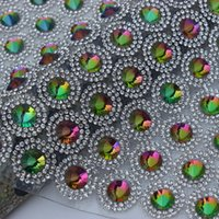 Wholesale 24 cm AB Colorful mm Satellite Crystal Stone mm Clear Rhinestone mesh trimming for wedding appliques decoration