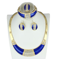 Others african dance - 2015Fashion Blue Vintage jewelry Africa Dubai Design K gold plated crystal Necklaces bracelets earrings Dance parties Costume jewelry sets