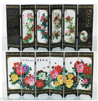Wholesale Chinese Handmade Vintage Lovely Peony Wooden Lacquer Six Pieces Folding Screen