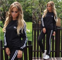 Wholesale Hot Casual Women Sports Tops Sweatshirt Pants Track Sweat Suits Tracksuit O neck jogger sportswear set
