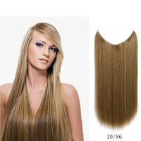 Wholesale 22 quot g Straight Flip In Hair Extensions Hot Resistant Synthetic Hair Extensions _86