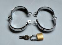 Wholesale 2015 Hot Sale unisex alloy steel handcuffs bondage restraints metal bondage cuffs fast delivery