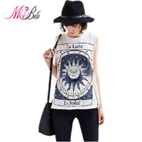 belle unique - MISS BELLE Unique The Tarot Sun Pattern Printed T Shirt Women Tops Sleeveless Loose Casual Cotton Summer T shirts Plus Size