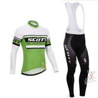 Wholesale hot Scott green Cycling Clothes kits Long Sleeve Cycling Jersey Cycling Bib pants Autumn sports wear Jersey and Bib pants mix sizes