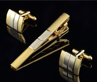 Wholesale French Shirt High Quality Men Jewelry Unique Wedding Groom Men Tie clips A Set Of Noble Gold Cuff Link And Tie Clip Men Jewelry