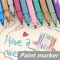 Wholesale 12 Metallic color pen Paint marker Highlighter for art brush foto Kawaii Stationery novelty copic School supplies
