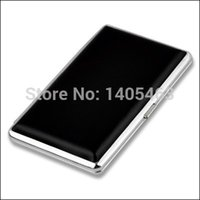 Cheap Alloy&Blcak PU Leather Slim Cigarette Case Hold For 14PCs 100mm Tobacco Pipes Cigar Box
