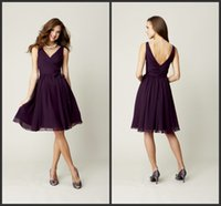 Cheap Dark Purple Bridesmaid Dresses V-Neck Short Sleeveless Cheap Homecoming Gowns Junior Maid Of Honor Gown Cocktail Dress Graduation Dress ZYY