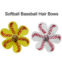 baseball clips - Softball Flower leather Hair clips Leather Seamed Softball Hair Bows With Rhinestone Hair Clip Pin Baseball Hair On Barrette