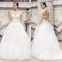 Wholesale 2015 Spring Tulle And Lace Sweetheart Ball Gown Wedding Dresses Sleeveless Back Corset Court Train White Ruffles Bridal Gowns Custom EN50820