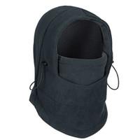 Wholesale 2014 New Adjustable Black Warm Fleece Winter Masks Ski Face CS Mask Hat Protected Ear Beanies Ski Skull Snowboard Cap