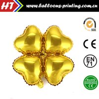 balloon arches columns - 50pcs alumnum balloons Festival party supplies Cheap whole network four heart shaped balloons Foil Balloons golden arches column Clover fo