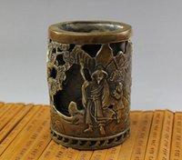 art figure studies - W Chinese Classical Figure Sculpture Brass Pen Holder Brush Holder cm metal carving sculpture handmade decoration ornament