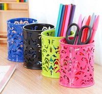 pencil holder - Hollow grid Metal Pen Stand pattern Pencil Holder Pen Holder Pen Barrel