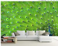 al por mayor pintura pluma de pavo real-Personalizar papel pintado de papel pintado de pared Peacock pluma decoración pintura mural 3d wallpaper Free shipping6987