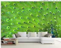 achat en gros de peinture plume de paon-Personnaliser papier peint de papier peint Peacock plume peinture décorative peinture murale 3d fond d'écran Free shipping6987