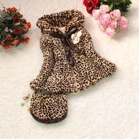 Cheap Retail Fur Baby girls coat girls winter coat new 2014 manteau leopard kids lace jacket children outerwear with handbag
