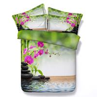 al por mayor hojas de bambú de tamaño queen-Hojas de bambú ropa de cama floral Aqua edredón cubre ropa de cama doona edredón doble reina super king size doble solo 4pcs occidental