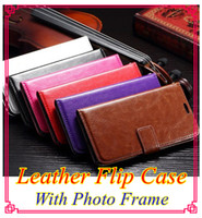 leather supplies wholesale - Factory supply Crazy Horse Mad Oil Leather flip Case With Photo Frame ID Card Holder Phone Cover galaxy S6 Samsung G9200 iphone plus