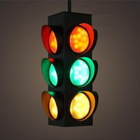 american signal - Black W American Style Traffic Signal Light Metal Glass LED Pipe Pendant Light Lamp W Green Red Yellow Light Source