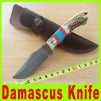damascus hunting knife - 2015 new Damascus hunting knife Antlers handle collection knife outdoor survival knife camping Hunting Tactical Knives A522X