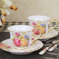 Vente en gros-Hot! Céramique Cup Classic Fleurs Bone China Cup Café Thé rouge Ensemble de tasses en porcelaine Dazzle Or