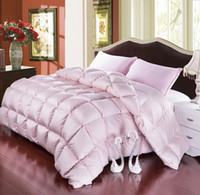 Wholesale Grade A Natural Goose Down Comforter Twin Queen King Size FP Quilt Hypo Allergenic Bedroom Fluffy Cozy Warm White Pink