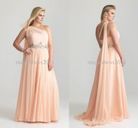 plus size evening dresses - 2015 Elegant One Shoulder Ruffle Sash Chiffon Long Sexy Crystal Plus Size Evening Dresses Bridesmaid Prom Gowns Cheap Bridesmaid Dress