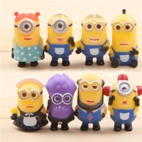 Wholesale 8PCS Despicable Me Minions action Figure toy Sets kids children PVC Christmas Gifts D eye mini cartoon Anime Minion toys