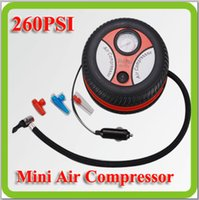Wholesale Free shippping DC12V watt mini round car piston air compressor tyre inflator air pump for car emergency ball bicyle