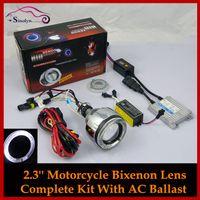 motorcycle headlamp - Universal Motorcycle inches HID Bi xenon CCFL Angel Eyes Halo Headlight Projector Lens Retrofit Xenon Headlamp Complete Kit