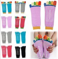 Wholesale 200pair new women Winter cotton non slip yoga socks toe socks foot massage fitness colored socks antiskid