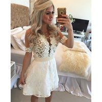 china prom dresses - Arabic Short Sleeves Prom Dresses White Beaded Vestidod De Festa com Renda Hollow Bow Shsh China Cheap Fast shiping Shopping Sales Online