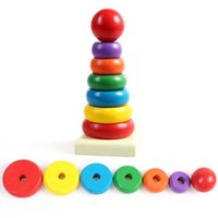 Wholesale 2016 New Rainbow Tower Ring Wooden Toy Kid Baby Stacking Stack Up Nest Learning Education