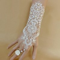 embellishments - Unique Black Ivory Lace Bridal Gloves With Flower Ring Chain Pearls Embellishment