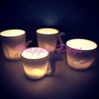 animal candlesticks - Via Fedex EMS Cute Kinto Animal Cup Frosted Ceramic Candlestick Mug Fairy tale animal cup Candle cup Creative Gifts