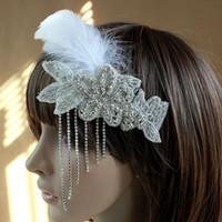 Wholesale Holesale Charming Wedding Bridal Bridemaid Hair Pins White Feather Flower Crystal Hair Clip headband