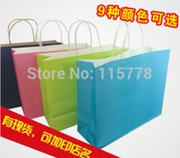 Cheap Middle size(21*11*27.5cm)custom logo for paper bag with handle   paper bags with logo   color kraft paper bags with custom logo