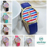 anchor watch - 100x hot Colors New Arrival Fashion Leather strap Anchor GENEVA Watches Women Dress Watches