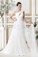 Wholesale Customize new fashion sexy Empire One Shoulder Sleeveless Chapel Flowers Sandra s Wedding Dress