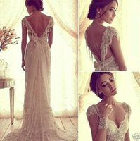sexy lace wedding dress - 2015 Sexy Anna Campbell V Back Wedding Dresses Cheap Beach Wedding Dresses Beads Capped Sleeves Vintage Lace Bridal Gowns