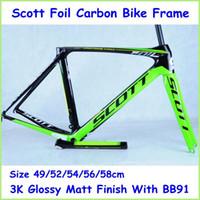 bicycle frame parts - 2014 New Arrival Scott Foil Carbon Bike Frame Full Carbon Green Black Road Bicycle Parts k Glossy Matt BB91 Bike Frame cm