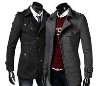 Wholesale New Slim Men s Overcoat Woolen Lapel Collar Long Sleeve Solid Collar Outerwear Fall Casual Men s coats